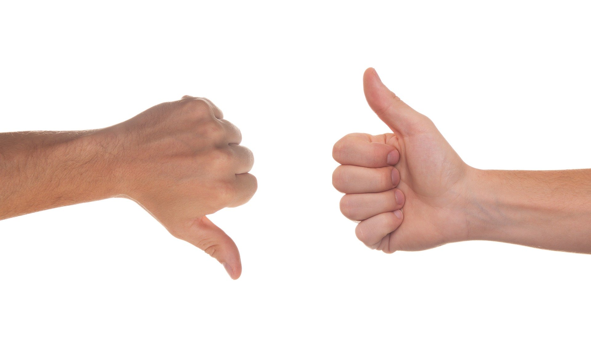 Thumbs up and thumbs down